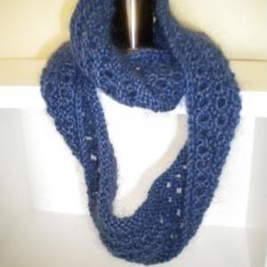 Soft, blue hand knit cowl