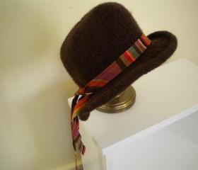 Felted brown cloche hat with ribbon band or flower trim