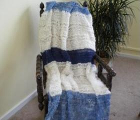Hand knit mohair wool afghan