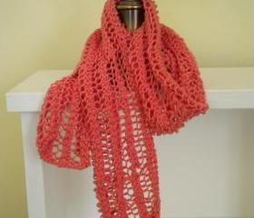 Salmon pink cotton lace scarf
