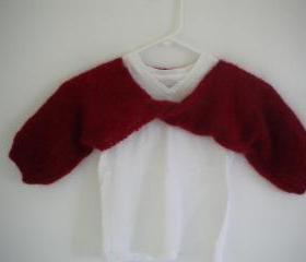 Hand knit little girl's red mohair shrug